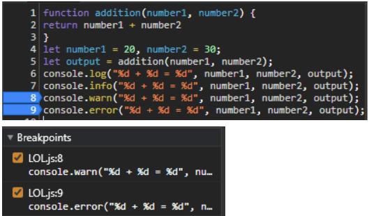 breakpoint list javascript debug