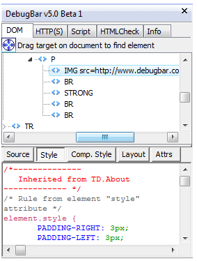 debugbar dev bar (development)