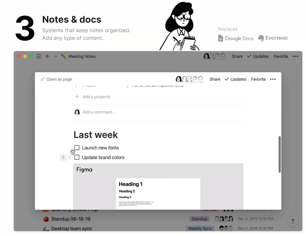 notes and docs notion template