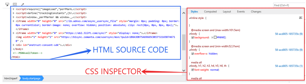 Internet Explorer Developers Tools DOM Explorer