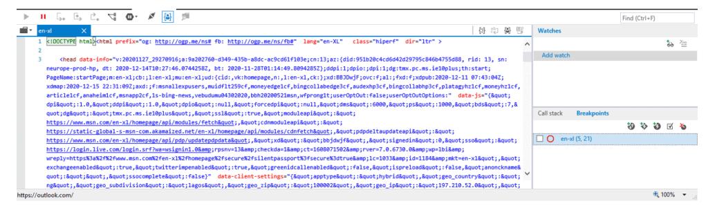 Internet Explorer Developers Tools Debug tab