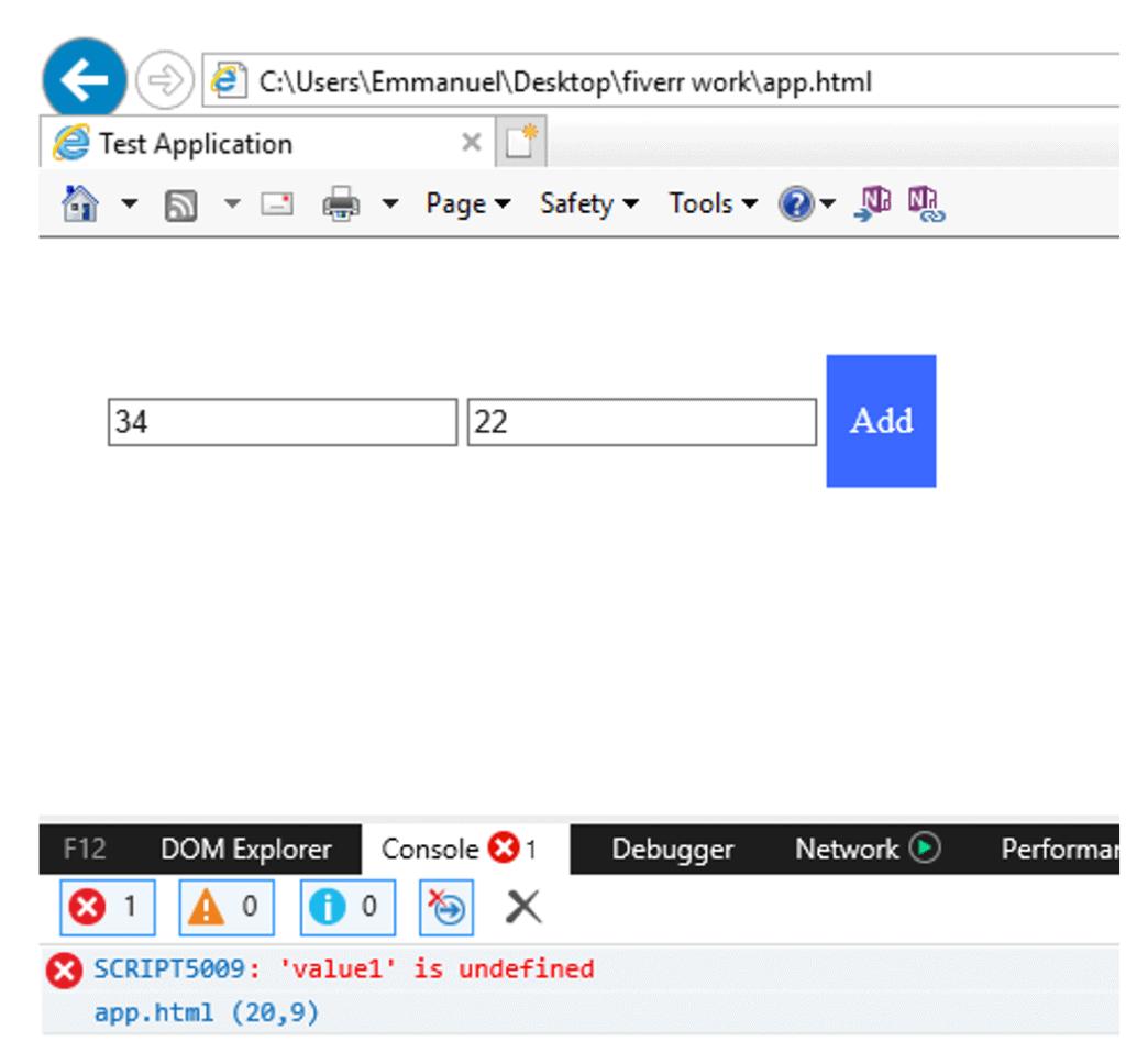 debug console in internet explorer