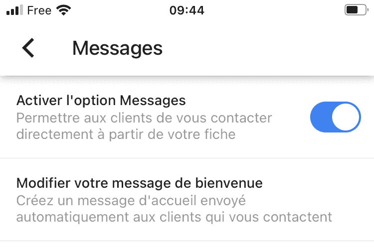 option message gmb