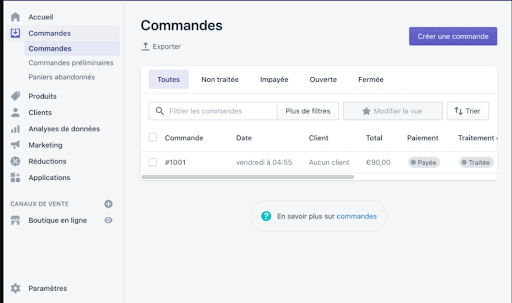 gestion commandes shopify